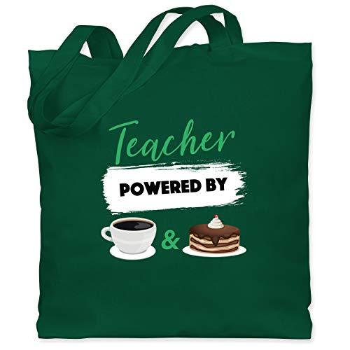 Lehrer - Teacher powered by coffee & cake - Unisize - Dunkelgrün - Kaffee - WM101 - Stoffbeutel aus Baumwolle Jutebeutel lange Henkel