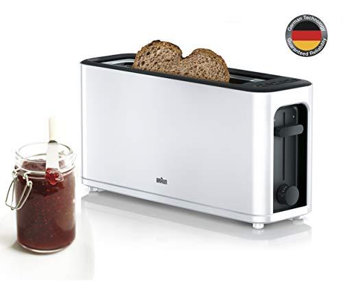 Braun HT3100WH Toaster, 1 Schlitz mit 7 Bräunungsstufen, 1000 W, Weiß