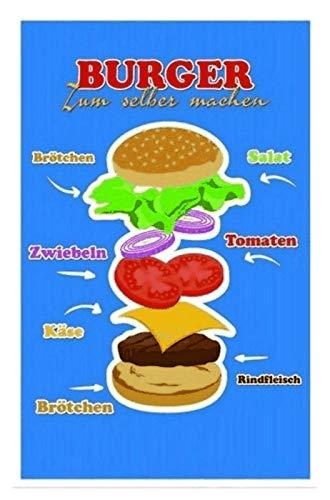 Generisch Burger Przepis tabliczka blaszana tabliczka metalowa tabliczka Metal Sign 20 x 30 cm