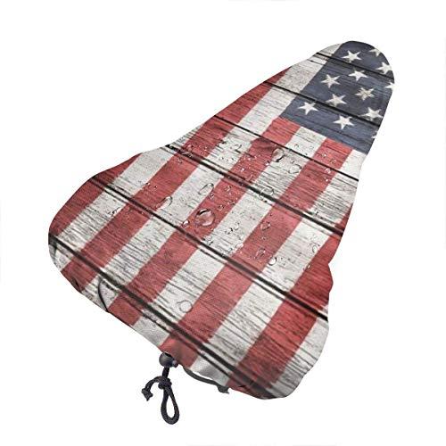 GOSMAO Funda para sillín de Bicicleta, Nueva The American Flag On The Board Funda para Asiento de Bicicleta, cómoda Funda de Lluvia para Asiento de Bicicleta con cordón, para Bicicletas de Interior