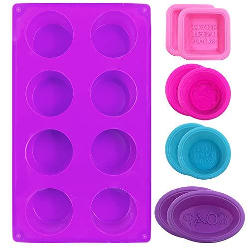 FineGood - Moldes de silicona para hacer jabón para magdalenas, de grado alimenticio, para repostería y brownie, para manualidades, color rosa, azul, rosa y morado