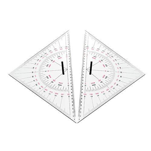 SGerste Navigations-Dreiecks-Winkelmesser, 300 mm, Acryl, Hypotenuse, nautische Quadrate, 2 Stück