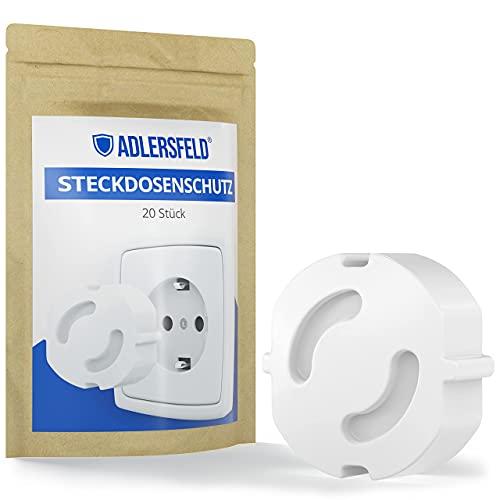 Adlersfeld® - Steckdosen Kindersicherung - [20 Stück] - Steckdosenschutz zum Stecken - Kindersicherung für Steckdose - Steckdosensicherung für Babys und Kinder