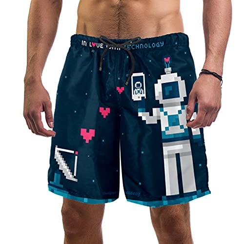 Vockgeng Slips de natación para Hombre Pixel Robot Love Banador de Natacion...
