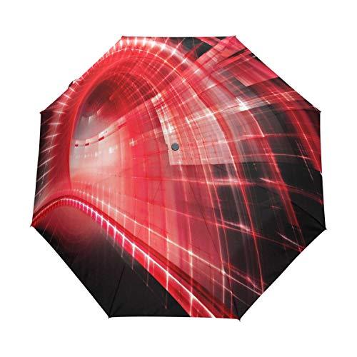 SUHETI Ombrello Portatile,Red Techno,Ombrello Pieghevole Automatico Antivento
