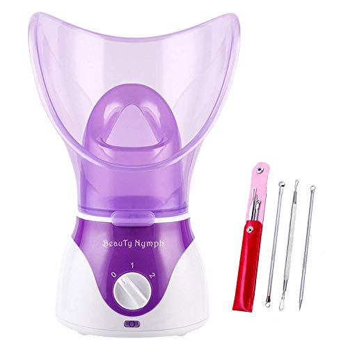 Beauty Nymph Spa Home Facial Steamer Sauna Pores and Extract Blackheads, Rejuvenate and Hydrate Your Skin for Youthful Complexion- Face Steaming Skincare Deep Cleanse SPA (Purple A)