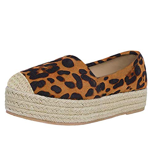 Best Buy! Women's Espadrille Slip-On Sneaker Fashion Leopard Print Round Toe Thick Bottom Shoes Casu...