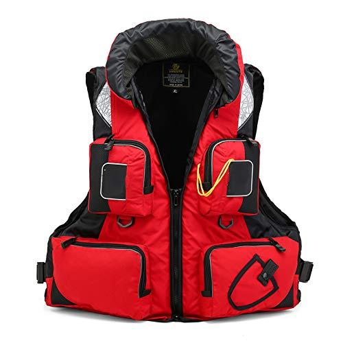 WANGT Chalecos salvavidas, chaleco de flotabilidad para adultos, para natación, navegación, pesca, kayak, chaleco salvavidas, chaleco salvavidas, rojo, XL