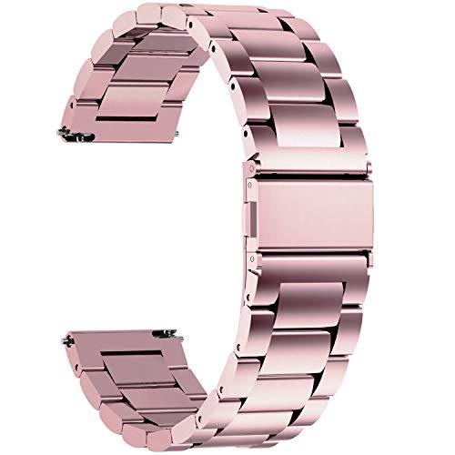 Fullmosa 3 Colores para Correa Metálica de Reloj de Liberación Rápida, Pulsera Reloj de Acero Inoxidable, Oro Rosa 18mm