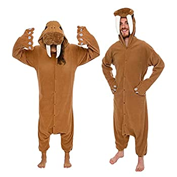 Silver Lilly -Adult Animal Pajamas - Walrus Animal Costume Plush One Piece  Brown Large