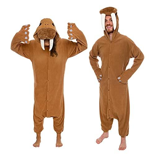 Silver Lilly - Tier-Pyjama für Erwachsene – Walross Tierkostüm Plüsch Einteiler - Braun - Large