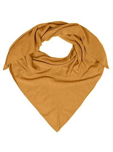 Zwillingsherz Dreieckstuch mit Kaschmir - Hochwertiger Schal im Uni Design für Damen Jungen und Mädchen - XXL Hals-Tuch und Damenschal - Strick-Waren für Sommer und Winter - 150cm x 120cm - senf