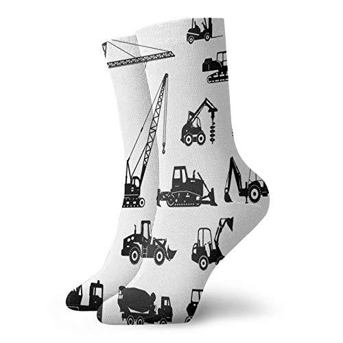 Calcetines de compresión altos, siluetas de hormigón, máquinas mezcladoras para camiones, tractores, calcetines para mujeres y hombres, mejor para correr, atletismo, senderismo, viajes, vuelo