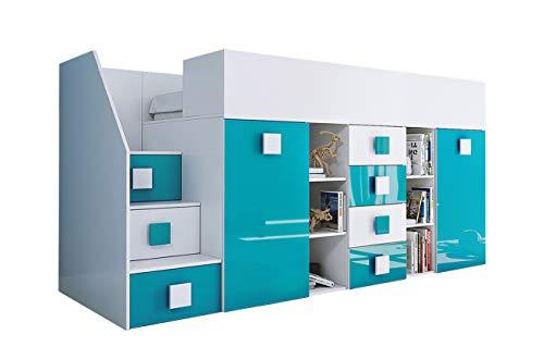 KRYSPOL Etagenbett für Kinder TOLEDO 3 Stockbett mit Treppe, Schreibtisch, Bettkasten (Weiß/Weiß Glanz + Türkisglanz, Seite: links)