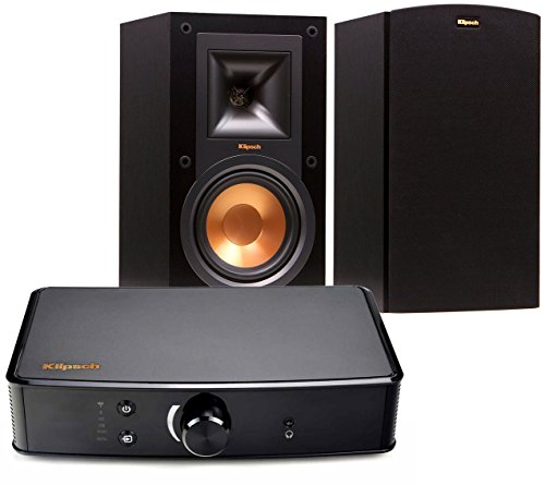 Fantastic Deal! Klipsch R-15M Bookshelf Speakers and Powergate Amplifier Bundle, Black