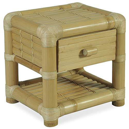 vidaXL Table de Chevet Table de Nuit Armoire de Chevet Armoire de Lit Chambre à Coucher Maison Intérieur 45x45x40 cm Bambou Naturel