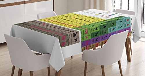 Ambesonne Modern Tablecloth, Periodic Table of Elements PHD Chemistry Student Family for Science Lover Education, Dining Room Kitchen Rectangular Table Cover, 60
