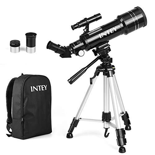 INTEY - Telescopio de astronomía, telescopio Refractor de 70 mm para niños y Principiantes de astronomía, Kit de telescopio de Viaje con trípode superligero, niños educativos y de Regalo