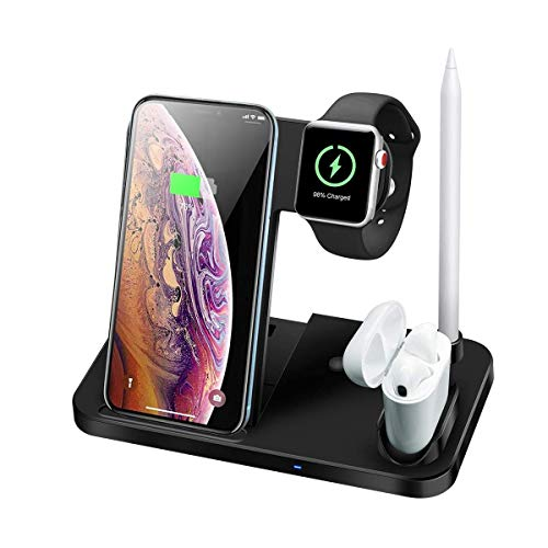 Dewanxin Cargador Inalámbrico,Cargadores de Móvil por Inducción 10W,4 in 1 Cargador Movil,Soporte Movil,para Apple Watch & AirPods & Pencil, iPhone 11   XR   8Plus   SE, iWatch, Samsung Galaxy