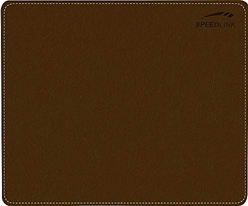 Speedlink Notary Soft Touch Mousepad - Mouse pad in Leather Look for Office/Home Office (Soft Surface - Non-Slip Bottom) for Gaming/PC/Notebook/Laptop, Brown