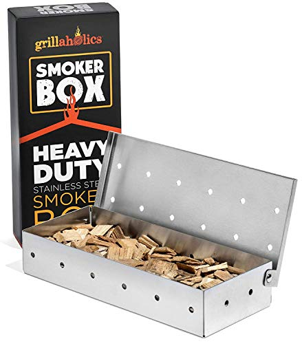 Grillaholics Smoker Box, Top Meat Smokers Box in Barbecue Grilling Accessories, Add Smokey BBQ Flavor on Gas Grill or Charcoal Grills with This Stainless Steel Wood Chip Smoker Box - 30% 40% Alert Boxes Customers garden It Keep lawn Low Rate Return Smoker V4