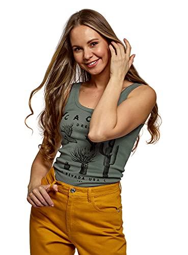 oodji Ultra Mujer Camiseta de Tirantes Básica, Verde, ES 38 / S