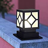 JJSFJH Solar LED / E27 Outdoor Impermeabile Posta Lampada Retro Industrial Home Giardino Pilastro Lampada da Glass Lampada da GLASSHADE GATE VILLA COURTYARD PARK COLONNA FUOCO (Colore : Mains)