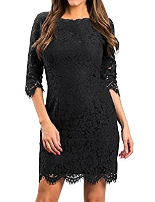 MEROKEETY Women's Sleeveless Lace Floral Elegant Cocktail Dress Crew Neck Knee Length for Party
