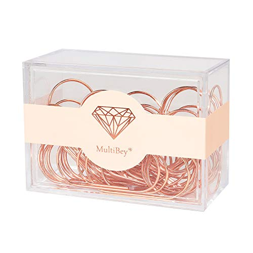 Large Paper Clips Smooth Finish Gold Jumbo Paper Clip Colored Paper Clips 2'' 30PCS Bookmark Office Supply Accessories (Rose Gold)