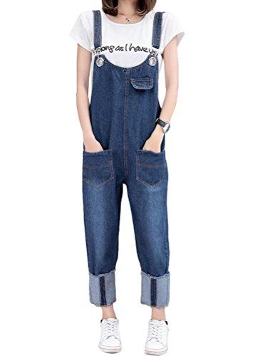 MatchLife MatchLife Damen Breite Beine Hosen Loose Denim Jeans Jumpsuit Latzhose Overalls Style11-Blau Fit EU 32-40