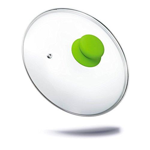 Green Kerafactum–Tapadera para olla tapa de cristal con mango de silicona, tapa de repuesto y sartén Tapa aro de acero inoxidable y orificio de ventilación 30cm