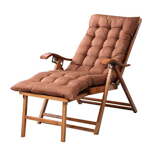 Wooden Sun Lounger, Folding Recliner, Adjustable Reclining, With Pads Cushions And Footstool, Waterproof Recliner Sunbed Beach Chair