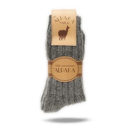 2 Paar Alpaka Socken für Damen & Herren, Wollsocken mit warmer Alpakawolle, 100prozent Naturfasern (Grau, 39-42)