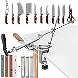 SEAAN Afiladores de cuchillos manuales profesionales 7 piedras de afilar (120 #, 320 #, 600 #, 500#, 800#, 1200#, 1500#), afilador de cuchillos con diseño giratorio de 360 ° para cocina casera