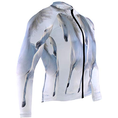 SLHFPX Galloping Snow Cold Winter Horse Mens Cycling Jersey Coat Full Sleeve Outdoor Cycle Skinsuits Outfit