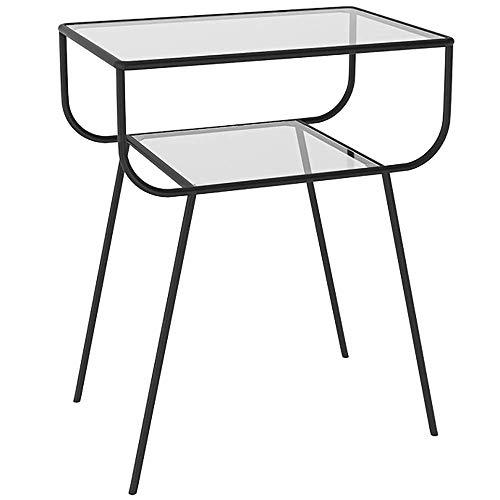 Mesita de noche de vidrio moderna Hierro forjado Sofá de estilo nórdico Mesa auxiliar de esquina Mesas de noche de dormitorio creativo para el hogar Estante de almacenamiento de doble capa (Color: Neg