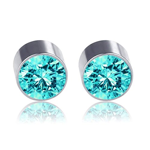 Lottoy 1 Pair Unisex Weight Loss Ear Stud, Healthy Stimulating Acupoints Magnetic Therapy Earrings,No Piercing (Acid Blue)