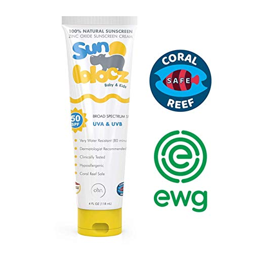 Sunblocz Baby + Kids Mineral Sunscreen, 50+SPF - Natural, Organic Sunblock, Zinc Oxide, UVA+UVB Broad Spectrum, Waterproof, Reef Safe
