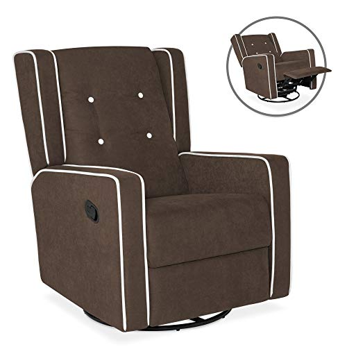 Best Choice Products Microfiber Tufted Mid-Century Velvet Upholstered Glider Recliner Lounge Rocking Chair w/ 360-Degree Swivel, Full Recline, Brown