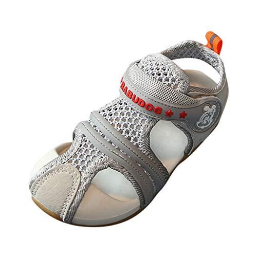 95sCloud Jungen Mädchen Sandalen Kinder Sandalette Schuhe Outdoor Sport Sneaker Klettverschluss Sommer Sport Outdoorsandalen Geschlossene Strand Sandale Schuhe Lauflernschuhe (Grau, 21)