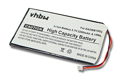 vhbw Li-Ion Akku 2200mAh (3.7V) für MP3-Player Musik Player Iriver H110, H120, H140, H320, H340 wie DA2WB18D2.
