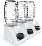 SODACLEAN® Premium 3er Flaschenhalter Kunststoff Hochglanz | Abtropfhalter für SodaStream Aarke Emil Flaschen mit Deckelhalterung | Abtropfgestell Crystal Easy Power (Weiss Hochglanz)
