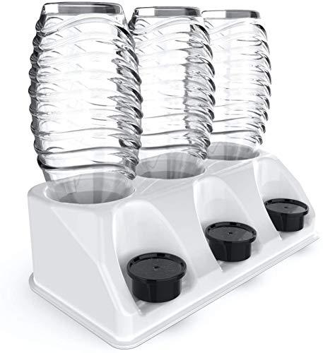 SODACLEAN® Premium 3er Flaschenhalter Kunststoff Hochglanz   Abtropfhalter für SodaStream Aarke Emil Flaschen mit Deckelhalterung   Abtropfgestell Crystal Easy Power (Weiss Hochglanz)