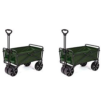 Seina Collapsible Steel Frame Folding Utility Beach Wagon Cart Green  2 Pack