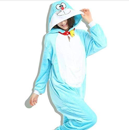 Disfraces de Dibujos Animados Adulto Dragón Bodies Franela Pijamas Animal Pantera Ropa de Noche (Color: Doraemon, Tamaño: S)
