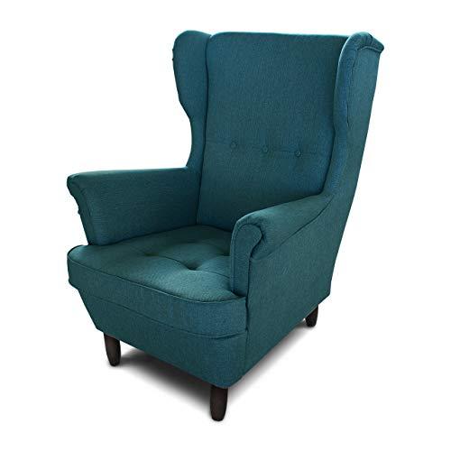 Ohrensessel Sessel King - Lounge Sessel mit Armlehnen - Retro Stuhl aus Stoff mit Holz Füßen - Polsterstuhl für Esszimmer & Wohnzimmer (Blau (Inari 87), ohne Hocker)
