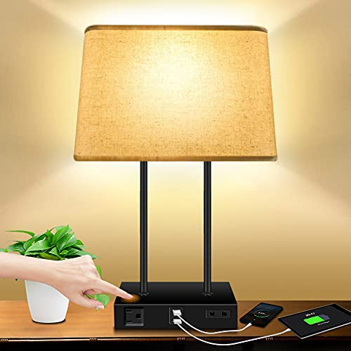 Bedside Desk Lamp for Bedroom - DOMUMLUX Table Lamps with 2 USB Charging Port: 3 Way Dimmable Modern Touch Control Nightstand Lights with 2 AC Power Outlets for Living Room & LED Bulb Included
