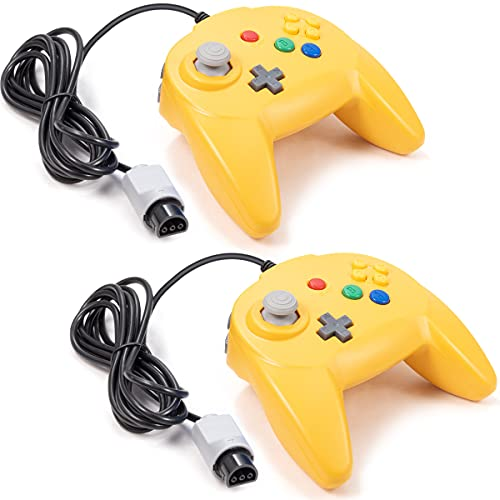 LUXMO 2Pack Retro Mini N64 Wired standrd game controller for the Nintendo 64-bit video game console Gamepad Joystick design Replacement for N64 Classic Controller Yellow