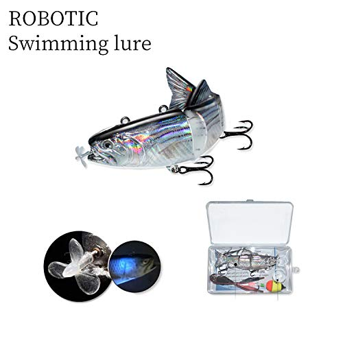 ods lure Robotic Swimming Lure USB Rechargeable LED Light 4-Segement Multi Jointed Swimbait Inteli Self-Propelling Electric Fishing Lure