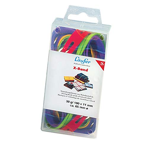 Läufer 59075 Rondella X-Band, elastische Kreuzbänder, Gummibänder 150 x 11 mm, Durchmesser 100 mm, 30g Dose, bunt